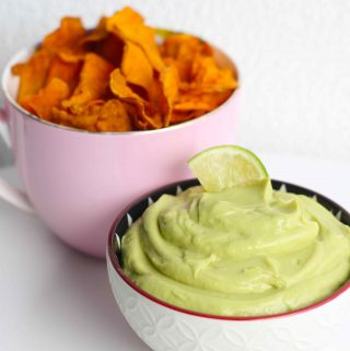Dairy free Avocado and Lime mousse with sweet potato chips