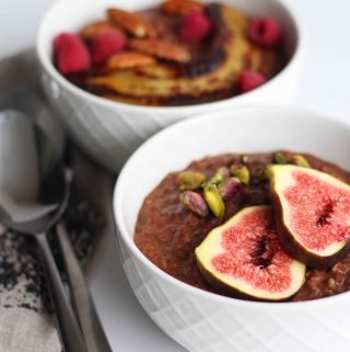 Chocolate Buckwheat Porridge with fig and pistachio