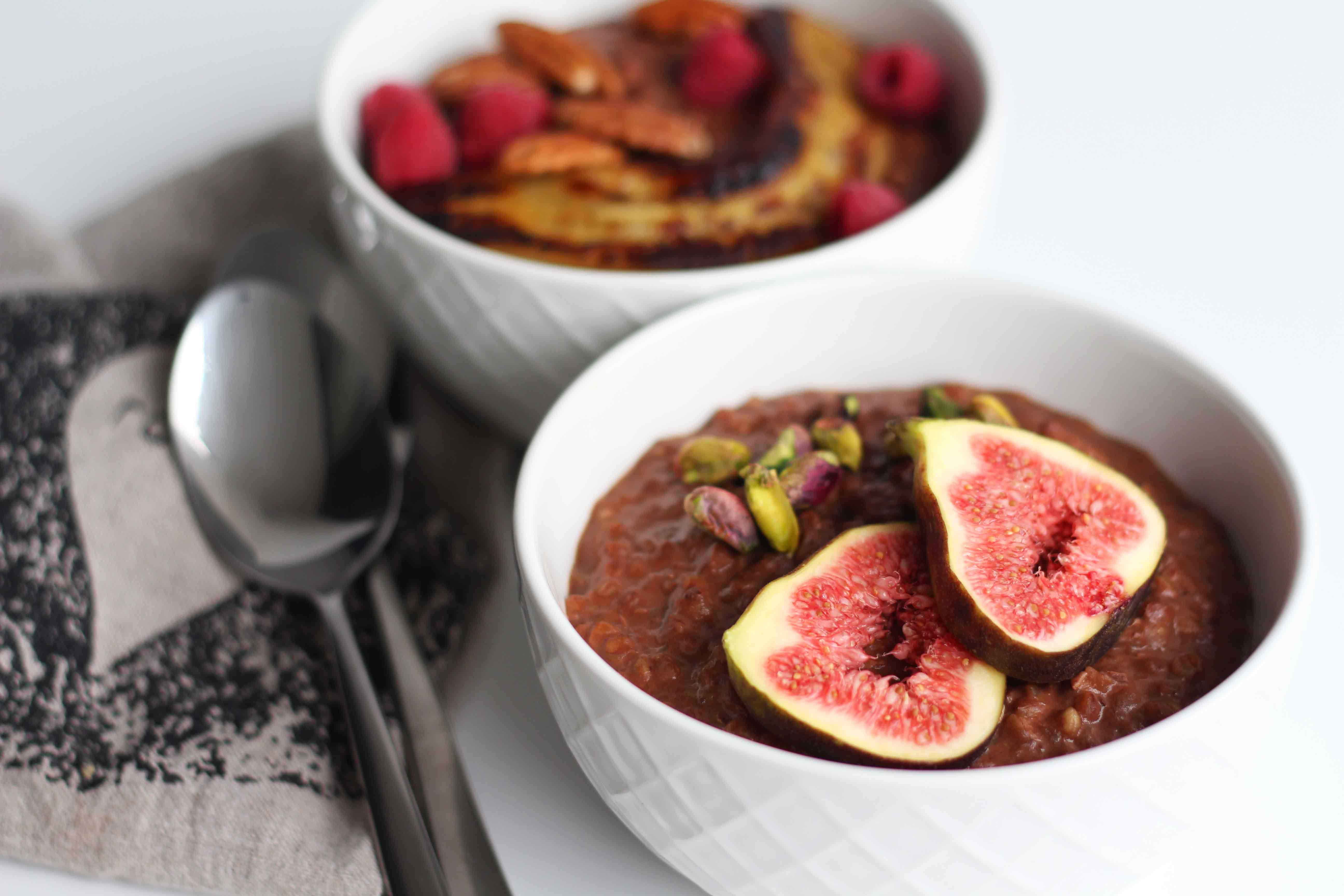 Chocolate Buckwheat Porridge with fig and pistachio