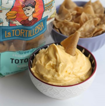 Garlic and Lime Aioli (Dairy Free) served with tortilla chips
