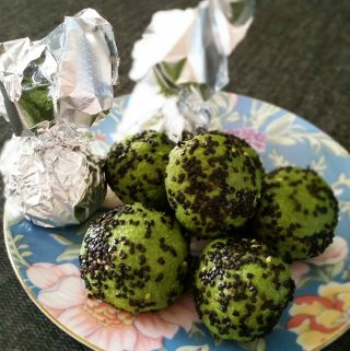 Matcha Black Sesame Protein Balls are a delicious vegan high protein snack that can be made ahead and frozen.