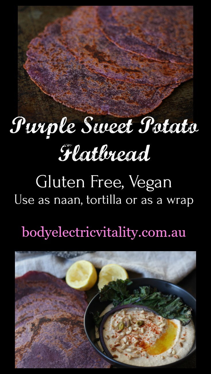 Purple flatbread are gluten free, nutrient dense and easy to put together. The dough refrigerates and freezes perfectly for purple flatbread on demand! The secret ingredient is purple sweet potato or yam.
