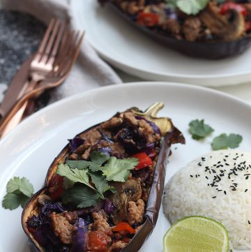 Thai Pork Stir Fry in Eggplant Boats
