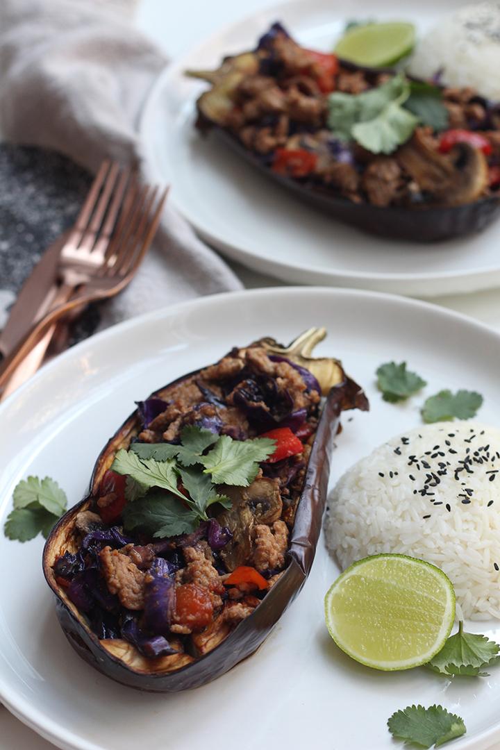 Thai Pork Stir Fry in Eggplant Boats