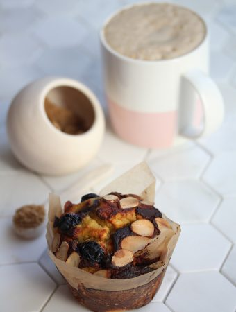 High Protein Breakfast Blender Muffins with coffee