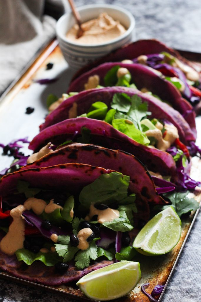 Purple flatbread soft tacos