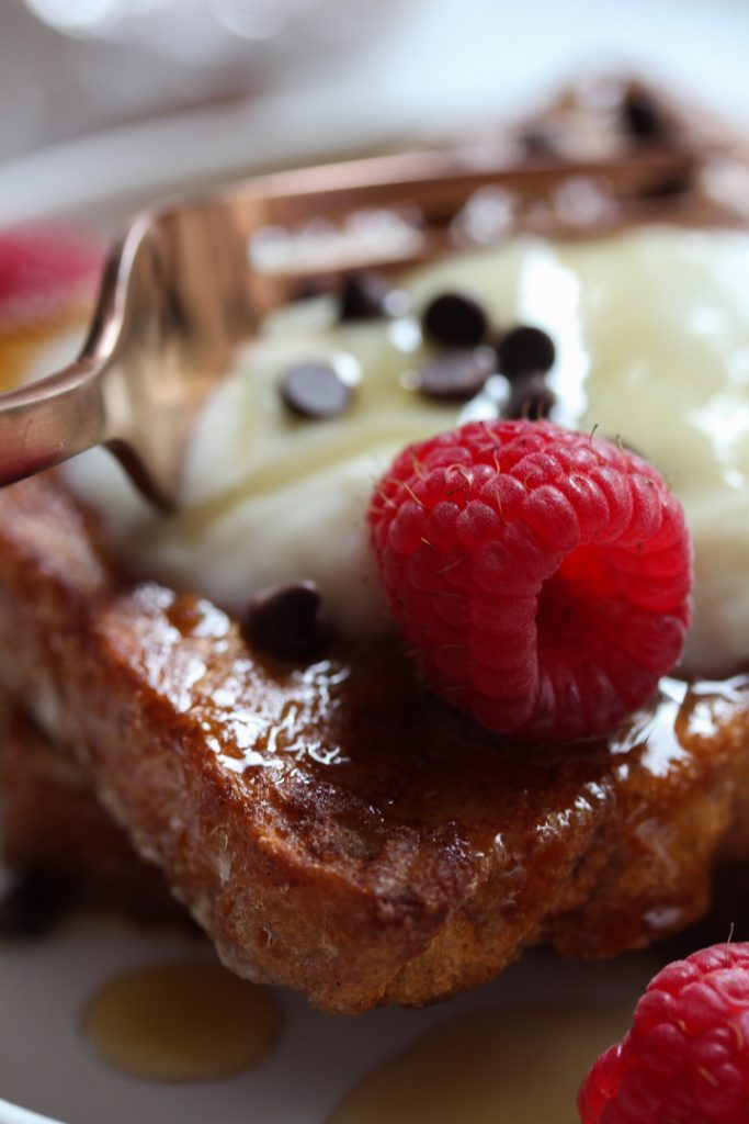 Sandwich bread French Toast with choc chips and raspberries