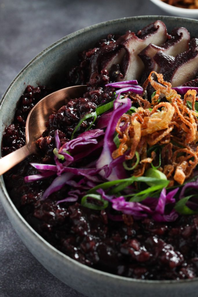 Black Rice Congee with ginger and shiitake