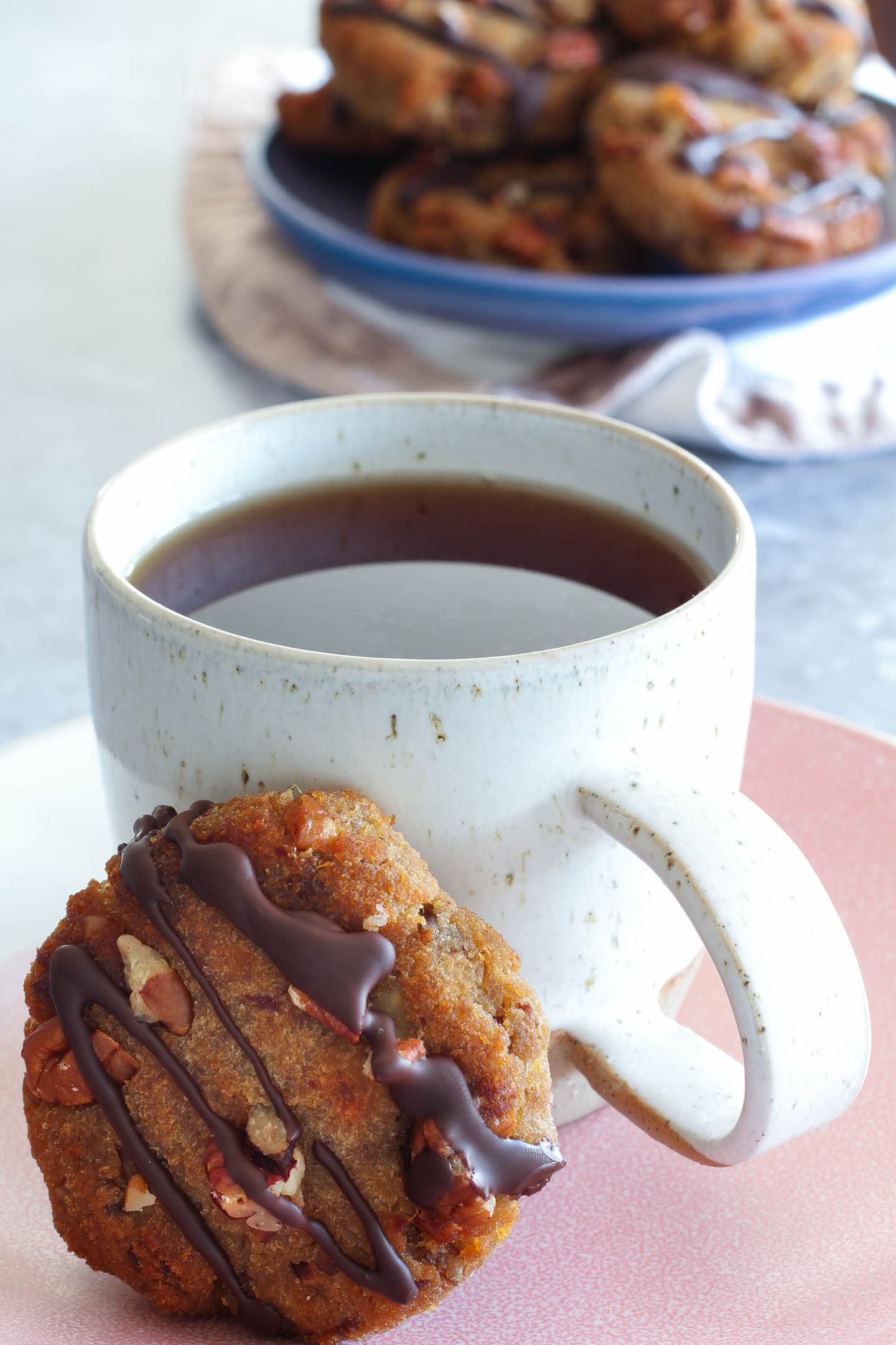 Banana Date and Pecan Collagen Cookies served with tea