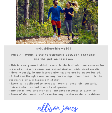 Graphic summarising article key points - the relationship between exercise and the microbiome