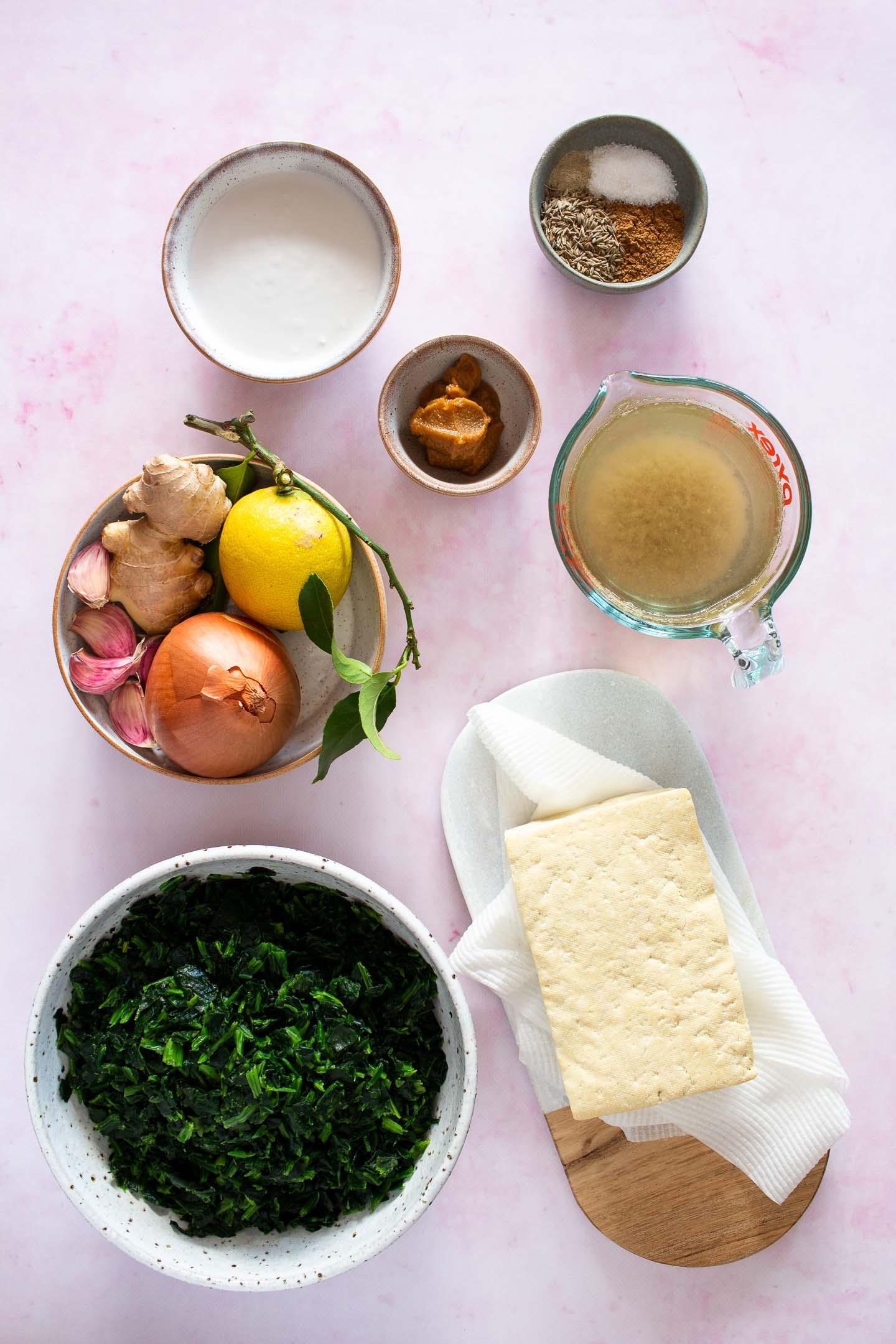 Dairy free Palak Paneer ingredients gathered before cooking