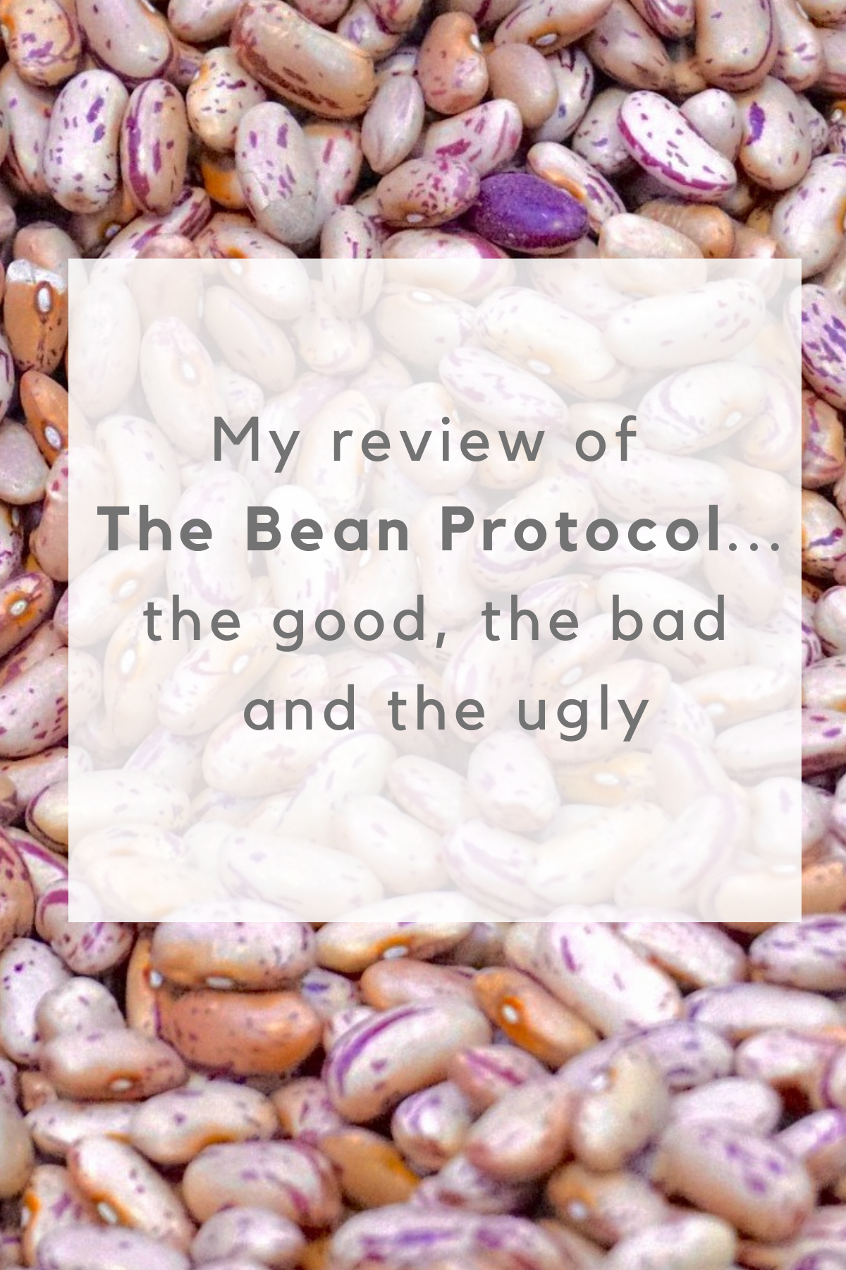 "Bean Protocol review graphic - beans in background with text ""My review of The Bean Protocol...the good, the bad and the ugly"""
