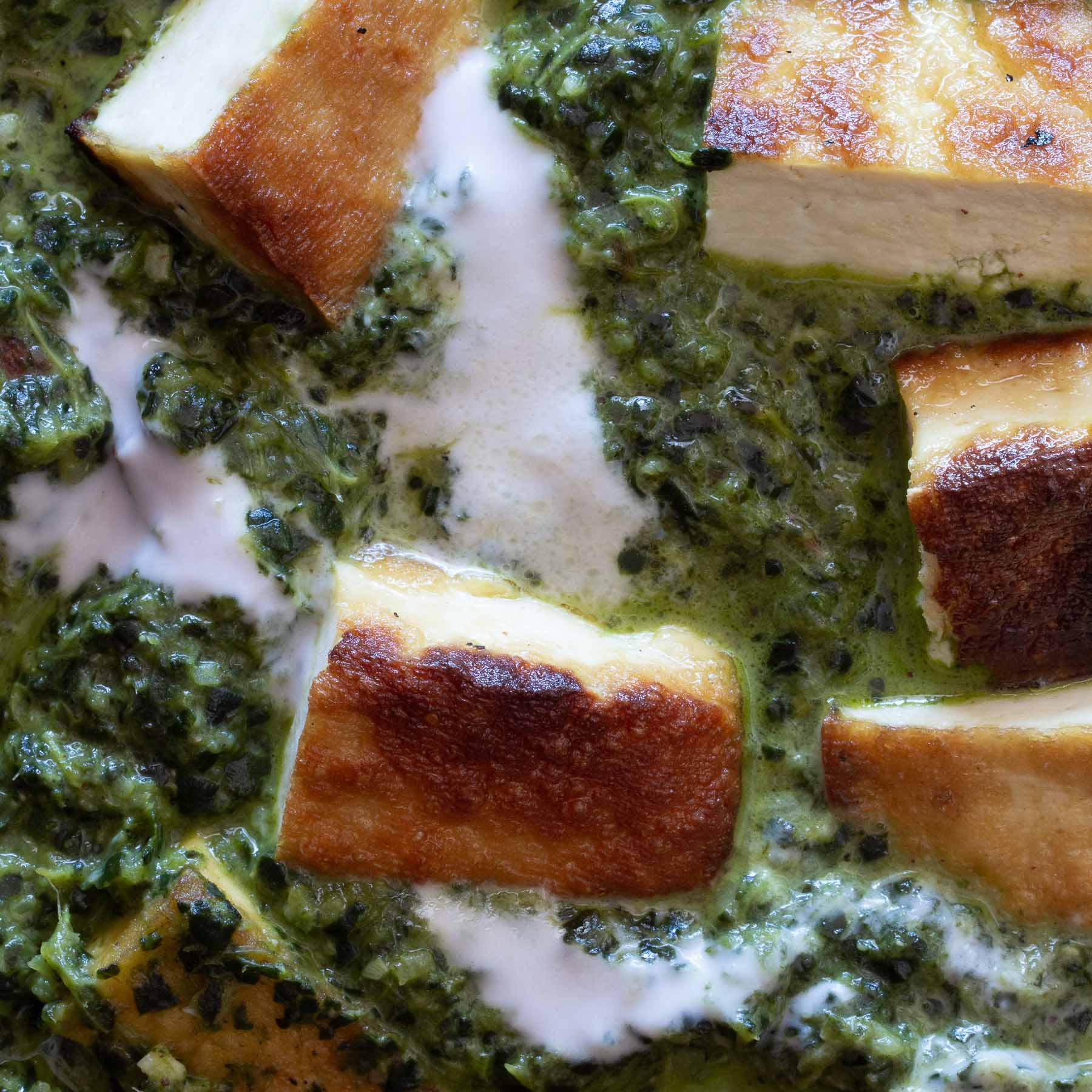 Dairy free Palak Paneer close up