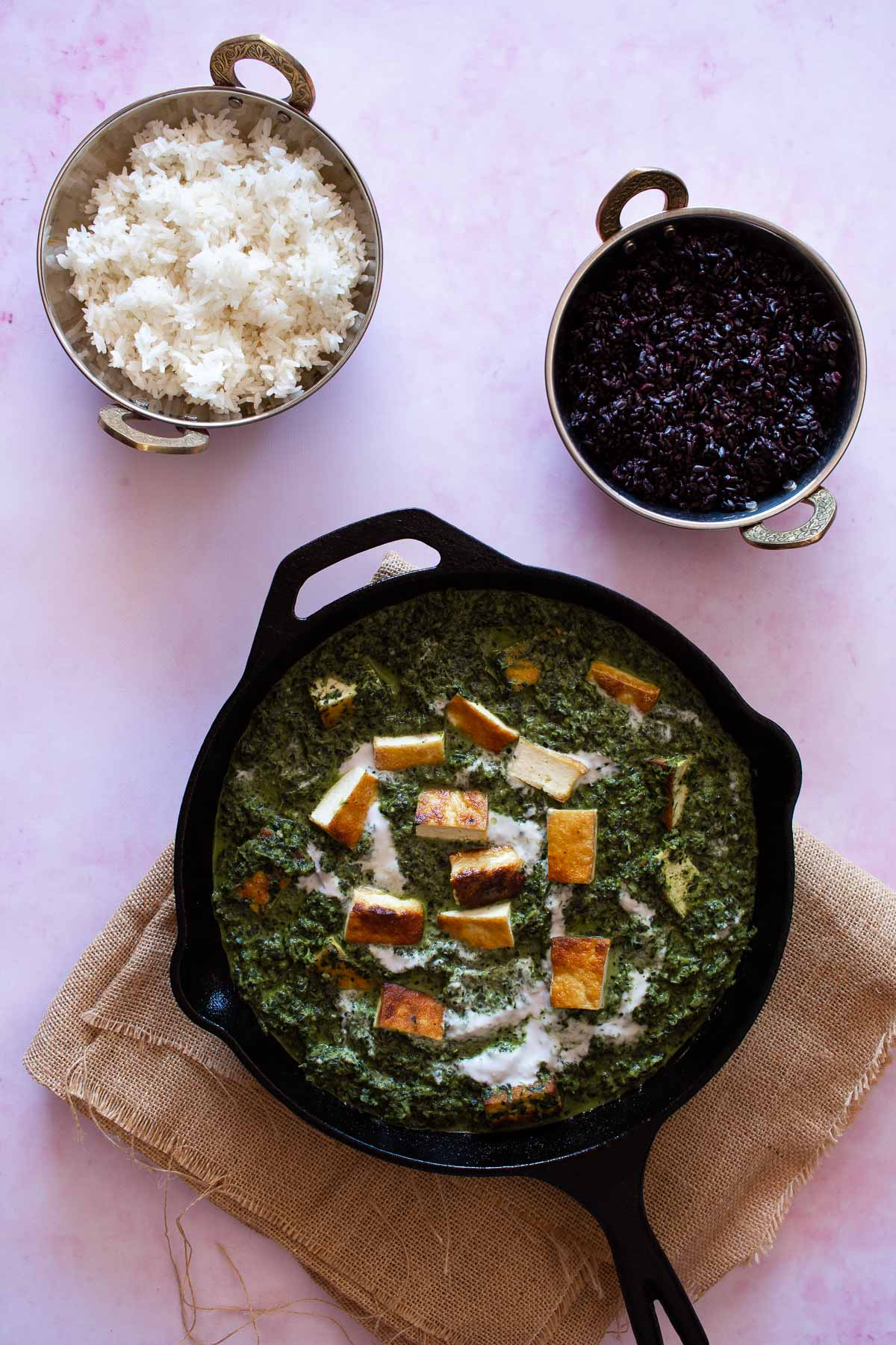 Dairy free Palak Paneer served with black rice and white rice