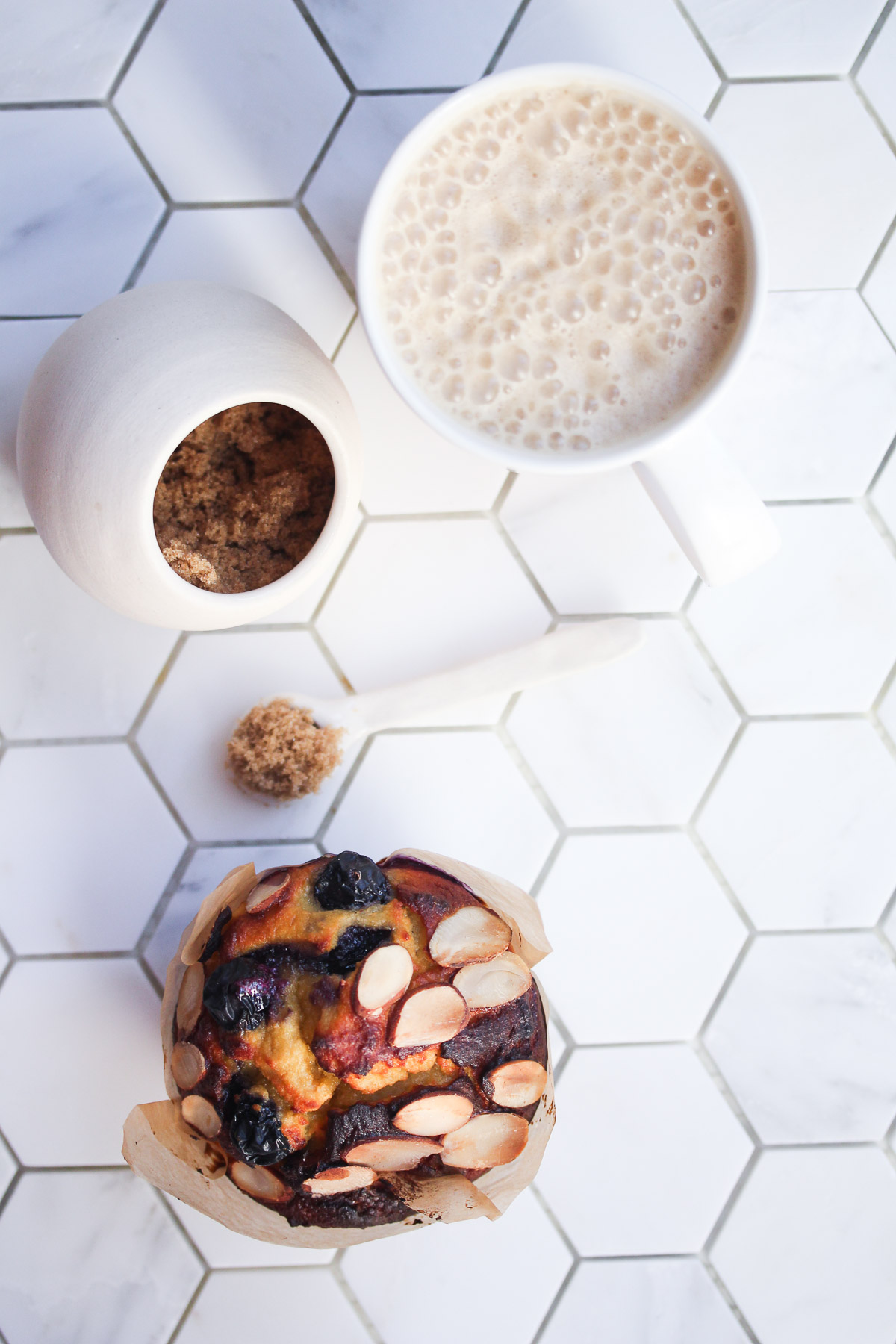 High protein muffin served with coffee