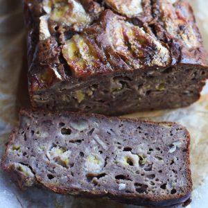 Close up shot of sliced banana bread