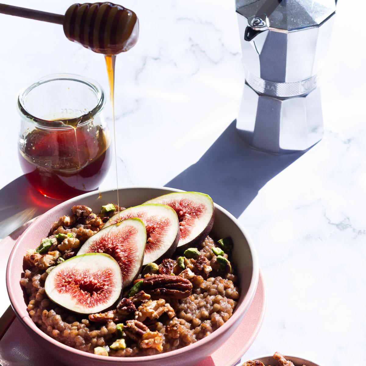 Honey drizzled over Buckwheat Baklava Porridge