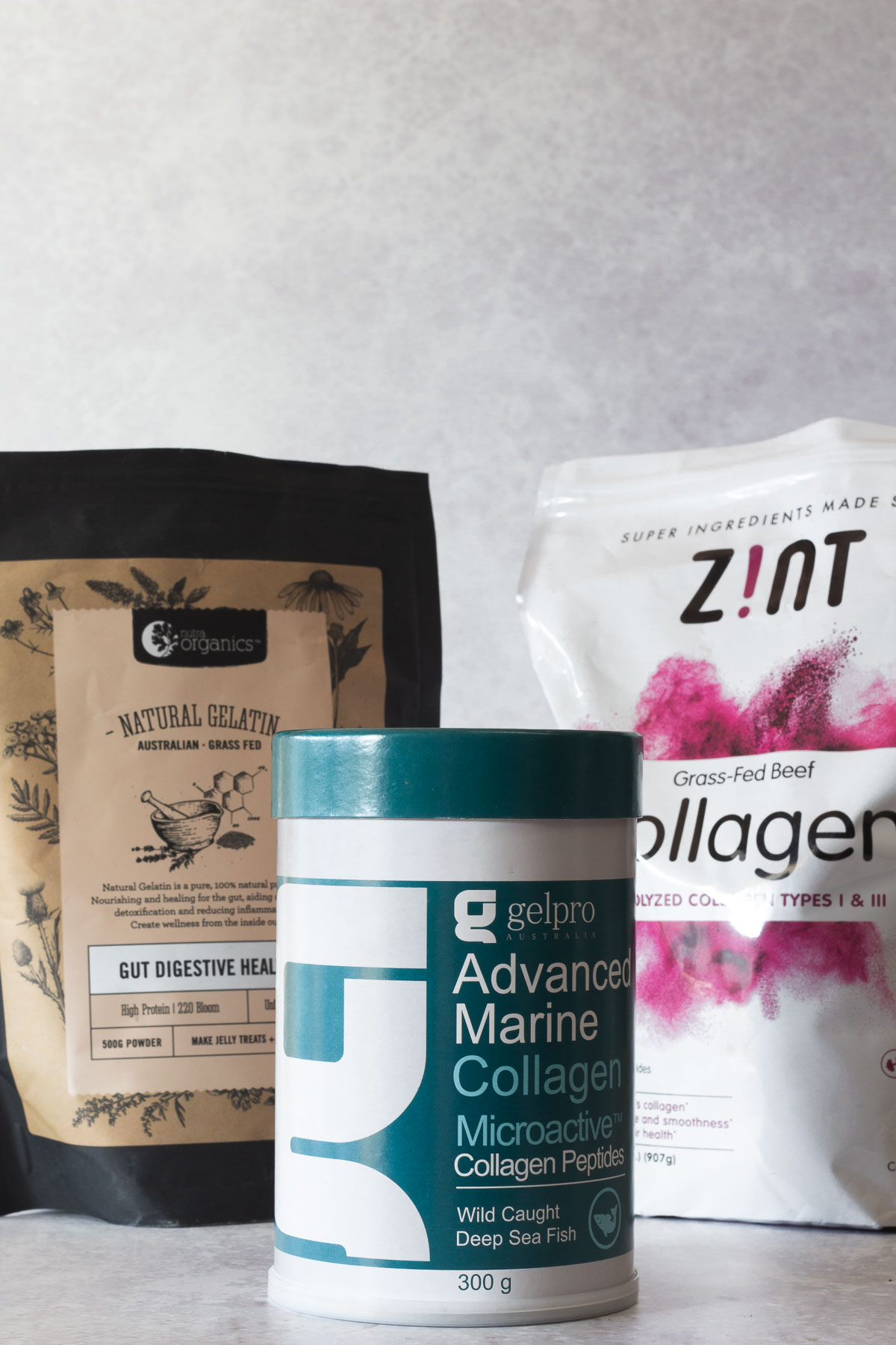Various collagen and gelatin products on display