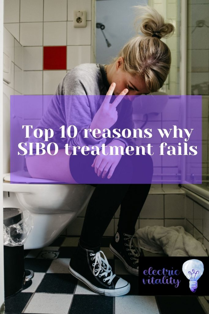 """Image of woman sitting on toilet bowl with text """"Top 10 reasons why SIBO treatment fails"""""""