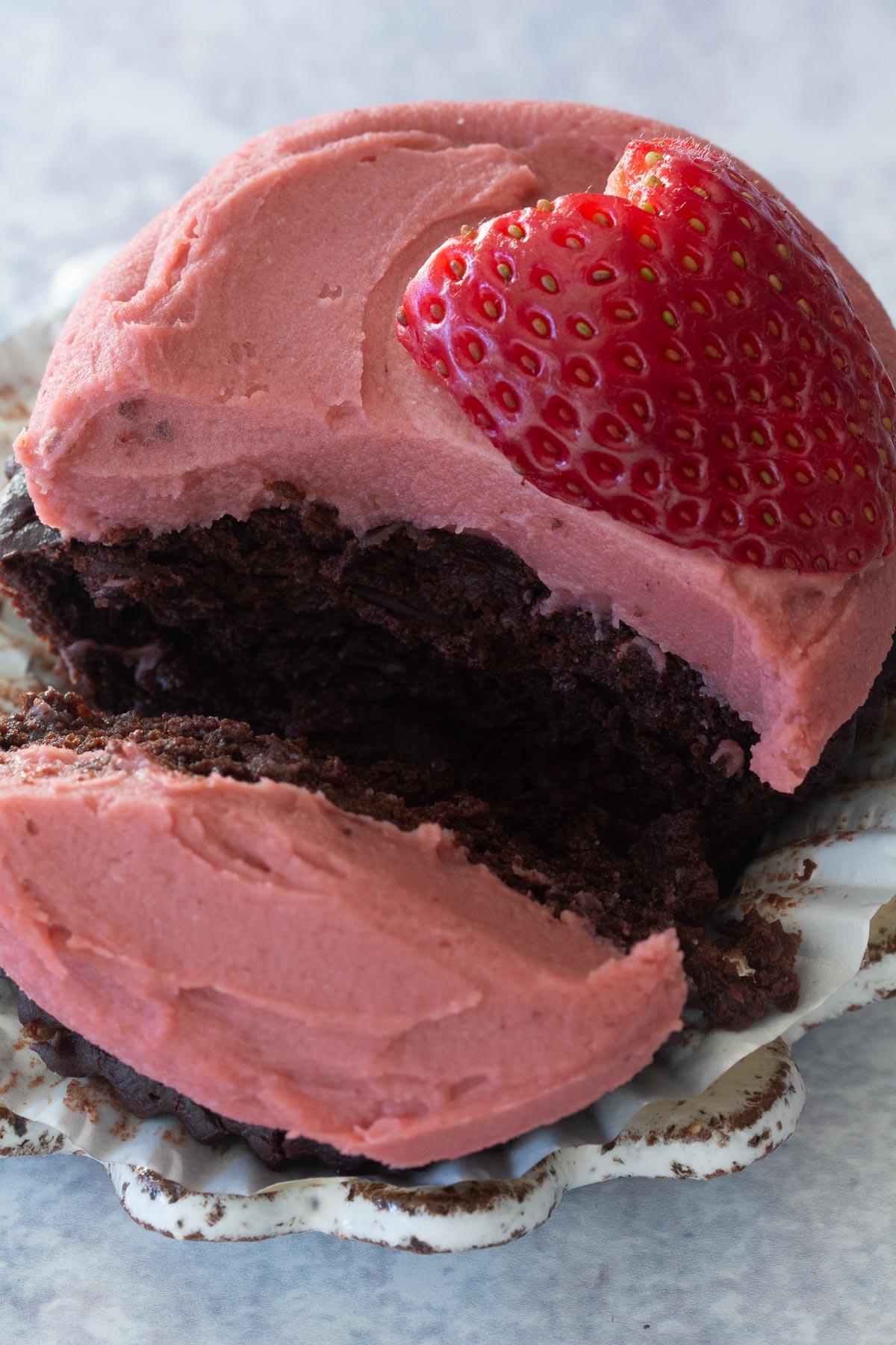 Close up shot of Dark Chocolate Mochi cupcake