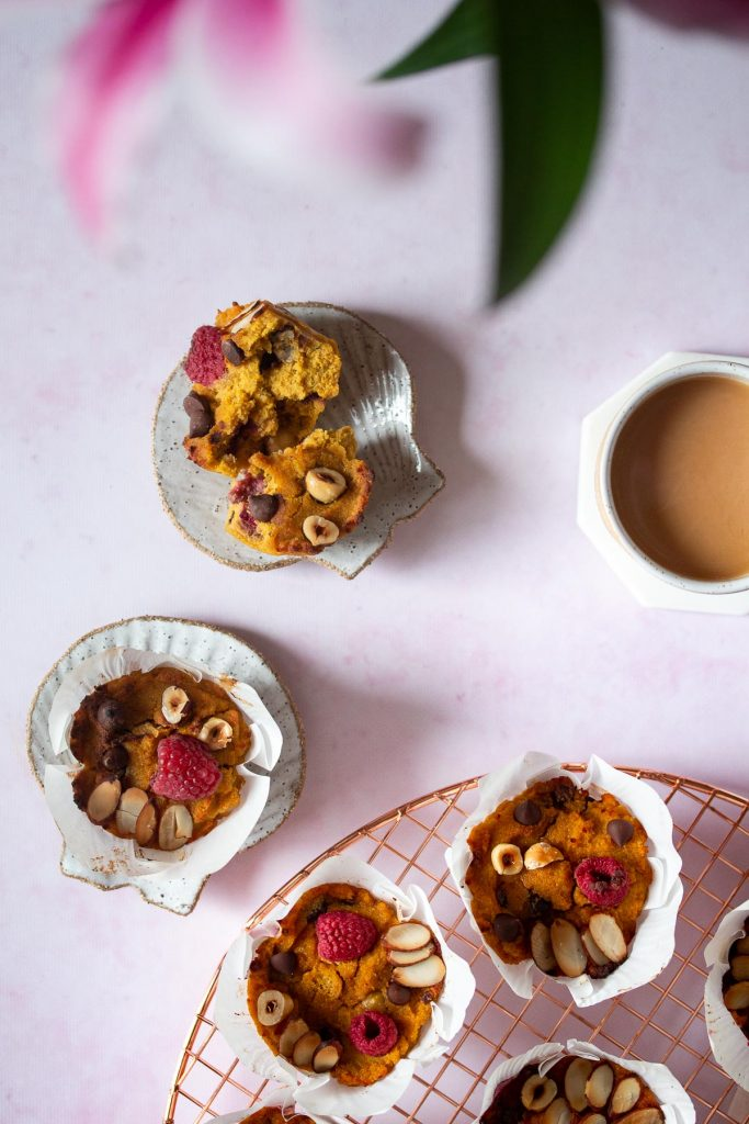 Pumpkin protein muffin served with a lovely cup of tea