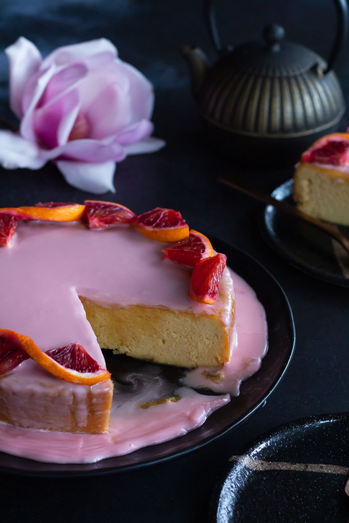 Blood Orange cake, sliced and ready to savour