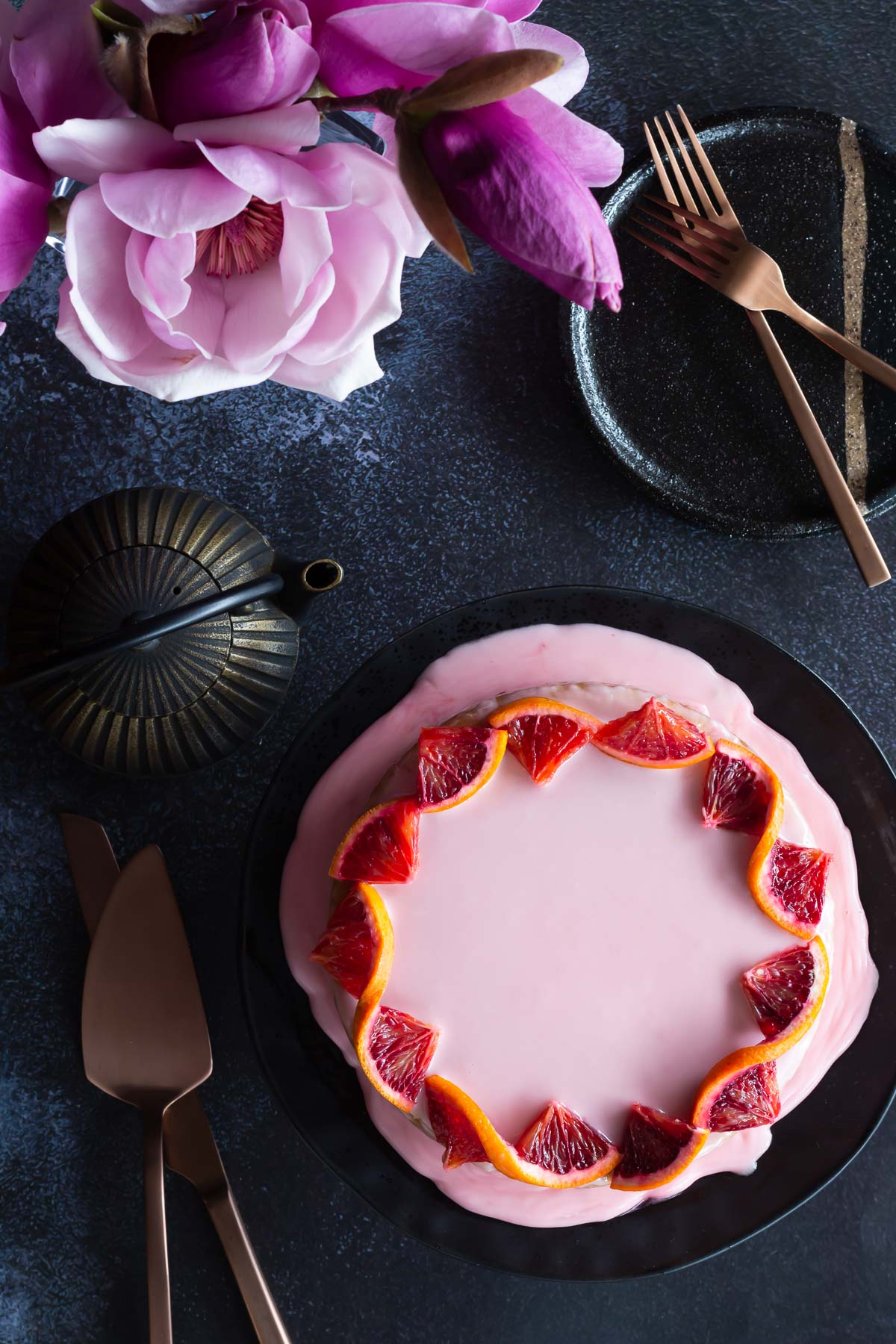 Blood orange cake ready to be enjoyed with a soulful cup of tea