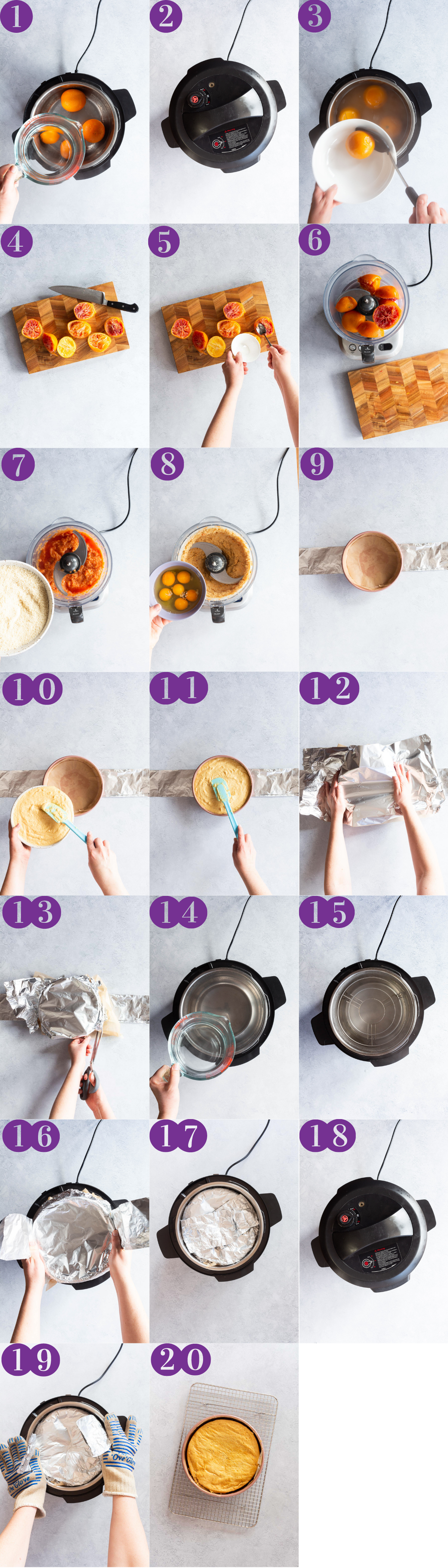 Process shots for making the Whole Blood Orange Cake in the Instant Pot/Multicooker/Pressure Cooker
