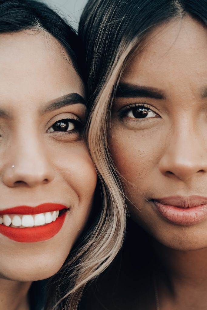 Close up photo of women's faces